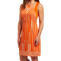 Orange & Beige Geometric Sheath Dress | zulily