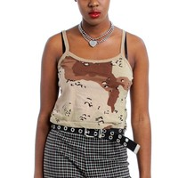 Vintage Y2K Camo Crop Tank - One Size Fits Many