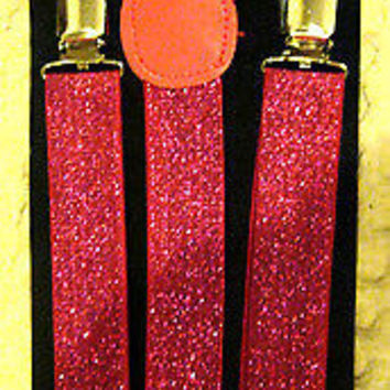 Neon Bright Pink Glittered Glitter Y-Style Back Suspenders-New in Package!