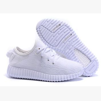Fashion Adidas Yeezy Boost Solid color Leisure Sports shoes Whtie T