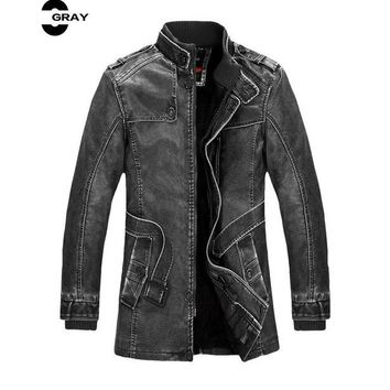 Winter Male Fur Stand Collar Thickening  Lether Jackets Leather Coat