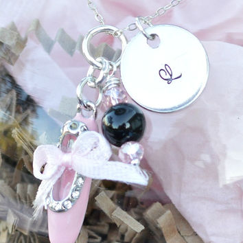 Pink Ballet Shoe Pearls Initial Necklace