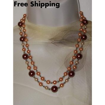"""Vintage Copper, Peach & Champagne Pearl Beaded Bronze Double Strand 20"""" - 22"""" Adjustable Necklace"""