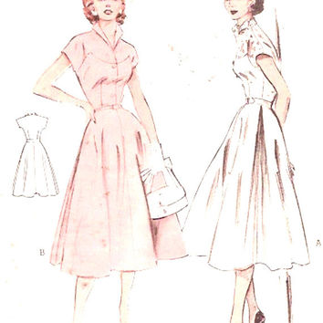 1950s Rockabilly Dress winged collar vintage frock sewing pattern Mid century grad teen bridesmaid fashion Butterick 6572 Bust 30 Small