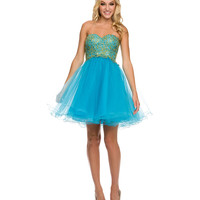 Turquoise Lace Strapless Tulle Dress   2015 Homecoming Dresses