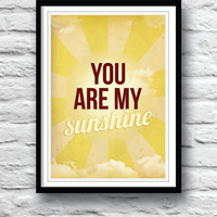 You are my sunshine, Nursery decor, wall decor, children's art, kids wall art, song lyric art, baby shower