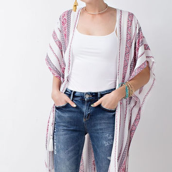 Tribal Printed Open Cardigan