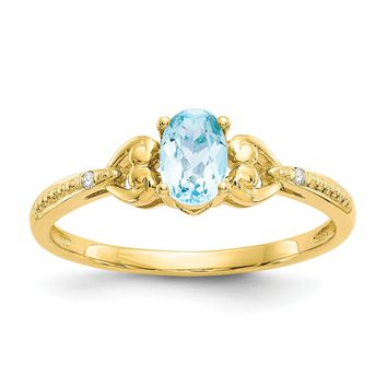 10k Yellow Gold Oval Genuine Light Swiss Blue Topaz Diamond Hearts Ring