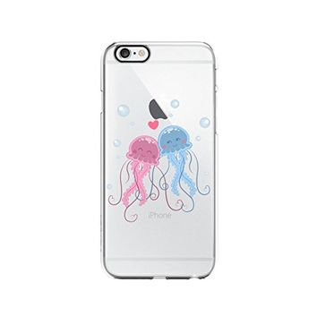 Cute Jellyfish Couple Transparent Silicone Plastic Phone Case for iphone 6 _ LOKIshop (iphone 6)