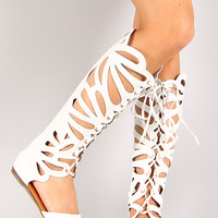 Ongee-06 Cut Out Lace Up Gladiator Knee High Flat Sandal