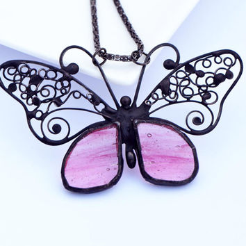 Butterfly pendant jewelry stained glass designer pendant peach pink black necklace stained glass filigree striking large pendant nature