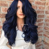 Patriots Blue lace front wig 24""