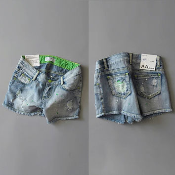 Weathered Ripped Holes Denim Casual Pants Summer Shorts [8511497863]