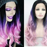Blonde Ombre Pink Puple Lace Front Wig