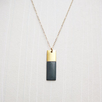 Gray Painted Rectangle Pendant & Gold Fill Chain Color-Blocked Necklace