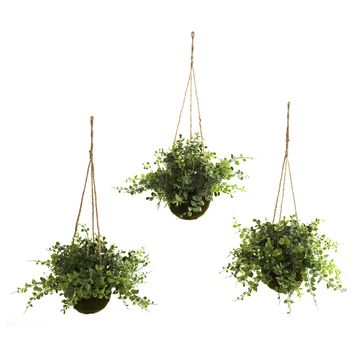 Artificial Plant -Eucalyptus Maiden Hair And Berry Hanging Basket -Set Of 3
