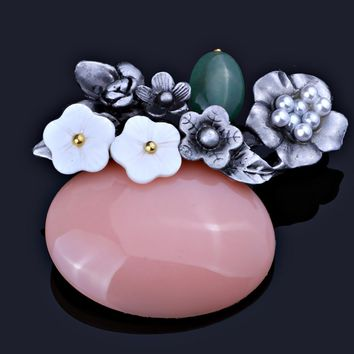 FARLENA Jewelry Handmade Natural Stone Bouquet Brooches for women Vintage Black Gun Plated Brooch Pins
