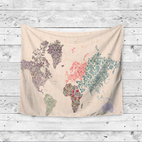 """Boho World"" Floral Pattern World Gypsy Map Wall Tapestry"