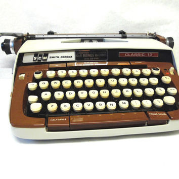 Smith Corona Portable Manual Typewriter Mid Century Modern