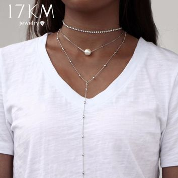 17KM Boho Jewelry Multi Layer Long Choker Necklaces for Women Sexy Fashion Beads Pendant Vintage Collier Crystal Necklace Bijoux