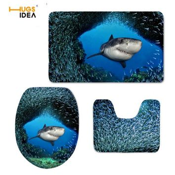 HUGSIDEA Funny 3D Shark Dolphins Printed Toilet Seat Cover Warmer Soft Toilette Lid Cover Bathroom Floor WC Mats Home Decor