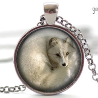 Silver Fox Necklace, White Fox Pendant, Silver Fox Charm, Fox Jewelry (1311)