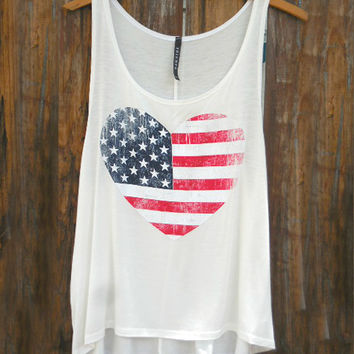 American Flag Heart Tank [7290] - $21.00 : Feminine, Bohemian, & Vintage Inspired Clothing at Affordable Prices, deloom
