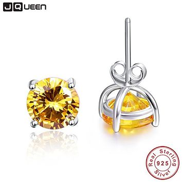 Women Natural Stone Earrings 100% 925 Sterling Silver Stud Earrings Classic Style Round Amethyst Citrine Topaz Fine Jewelry