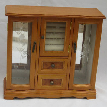 Wood Jewelry Box Extra Large Honey Colored Wood Jewelry Chest