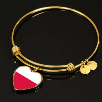 Polish Pride - 18k Gold Finished Heart Pendant Bangle Bracelet