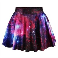 Ninimour- Women's Basic Versatile Strechy Flared Skater Skirt (Purple Galaxy)