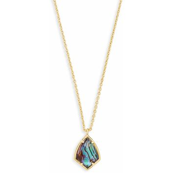 Kendra Scott: Cory Gold Pendant Necklace In Abalone Shell