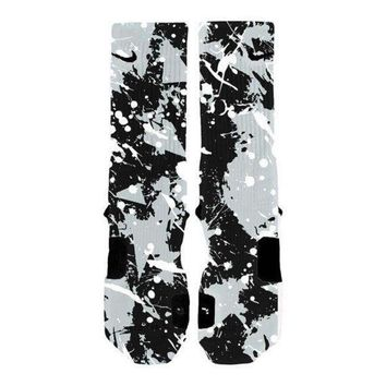 CREYONV custom nike elite socks kd lebron kobe all sizes hoopswagg spurs splatter  number 1