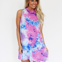 Blue/Purple Tie Dye Mock Neck Dress