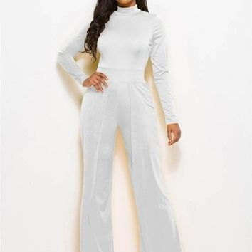 Avery High Neck Wide Leg Jumpsuit - White