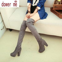 Size 43 Women Stretch Faux Suede Slim Thigh High Boots Sexy Fashion Over the Knee Boots High Heels Woman Shoes Black Gray Brown