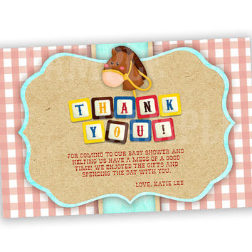 Baby Cowboy Thank You Cards - Western Baby Shower - Horse Thank You Cards - Country Baby Shower - Red Gingham Boys Boy Neutral Blocks Blue