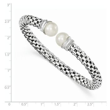Sterling Silver Polished Rhod-plated FreshWater Cultured Pearl Cz Cuff Bangle