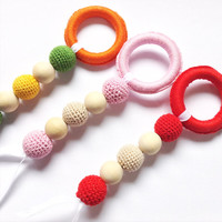 Red Crochet Teething toy, Valentines day gift, Baby gift