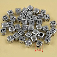 HYBEADS?Silver Alphabet Letter Beads 6X6MM 100PCS