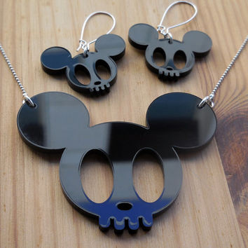 Large Mickey Skull Laser Cut Necklace - Black Acrylic Statement Jewellery