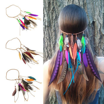 Find Me Vintage Bohemia Peacock Feather Long Tassel Headbands Women 2017 Fashion Brand Beads Hair Jewelry Rope Chain Hair Band