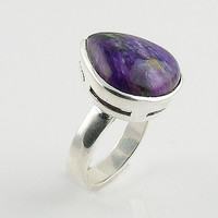 Charoite Solitaire Sterling Silver Ring