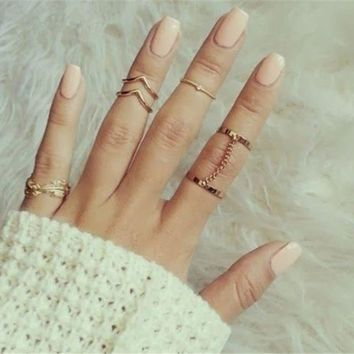 H:HYDE 6pcs/lot Unique Adjustable Ring Set Punk Style Gold Color Knuckle Rings For Women Midi Finger Knuckle Rings Ring Set