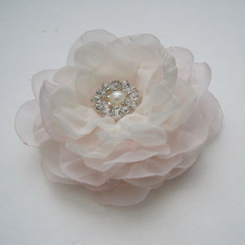 Blush Pink and Ivory Chiffon Hair Clip Bridal Bride Bridesmaid Mother of the Bride with Pearl and Rhinestone Accent Hair Accessories Bridal
