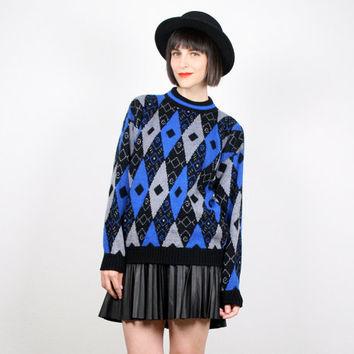 Vintage 80s Sweater Cosby Sweater Royal Blue Black Gray Abstract Print Jumper New Wave Art Deco Pullover Knit Harlequin Top M Medium L large