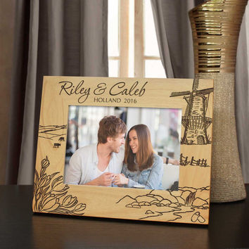 Dutch Dreams Inspired Personalized Vacation Picture Frame with Font Selection (Select Size and Frame Orientation)