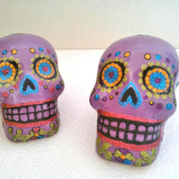 Sugar Skull Ceramic Figure, Day of the Dead Catrina, Dia de muertos, Halloween, Mexican Sugar skull Hand Painted Glittler