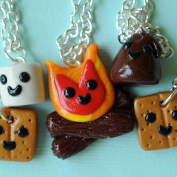 Handmade S'Mores and Campfire Five-Way Best Friend Necklaces - Whimsical & Unique Gift Ideas for the Coolest Gift Givers