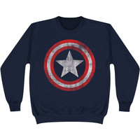 Captain America Men's  Distressed Shield Sweatshirt Navy